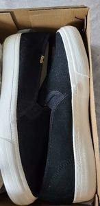 NWT In Box Keds Suede Black Slip Ons Size 9